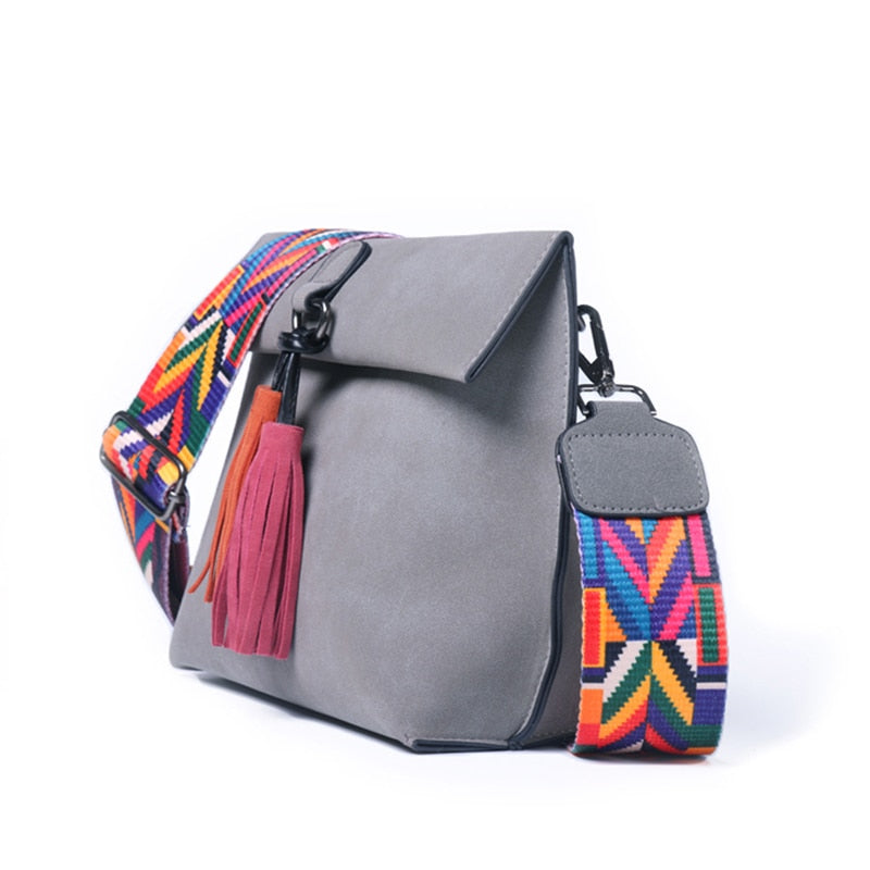 Colorful strap women's bag
