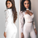 Lace crochet long sleeve crop top