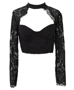 Lace crochet long sleeve crop top Black / S