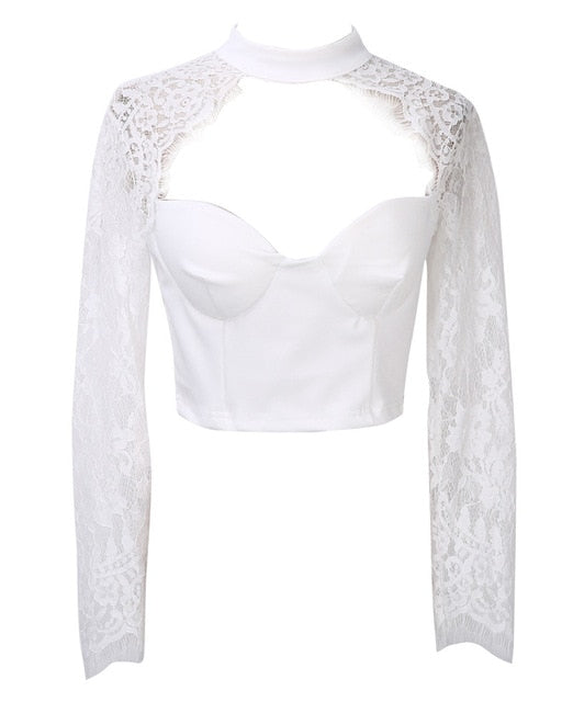 Lace crochet long sleeve crop top White / S