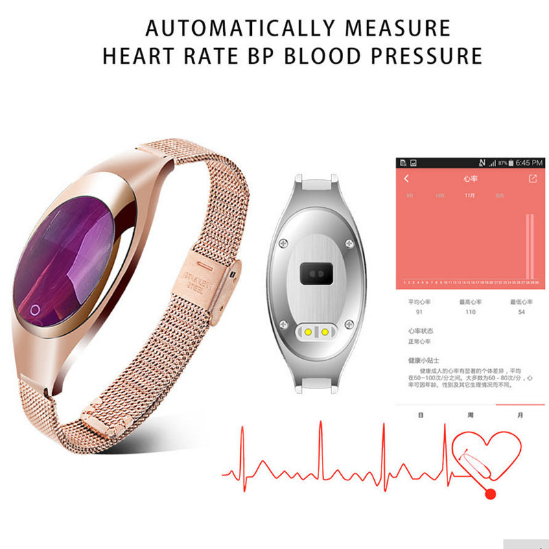 Women Fashion Smart Watch With Blood Pressure Heart Rate Monitor For Android IOS