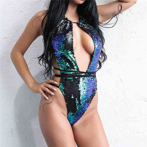 SEXY SEQUIN MONOKINIS Blue Sequin Swimsuit / L