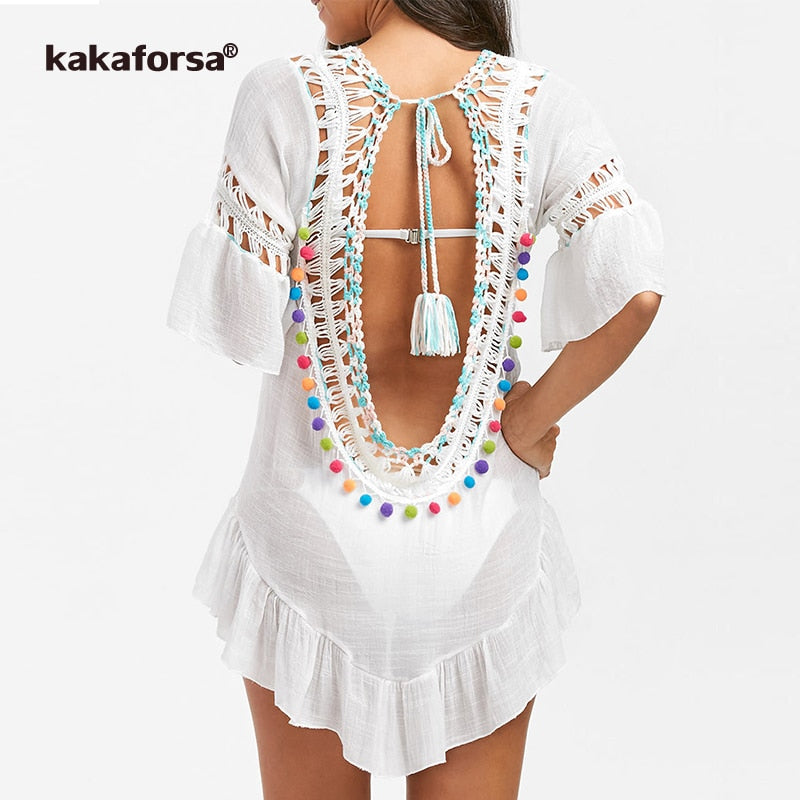 Ruffle ball swimsuit cover up