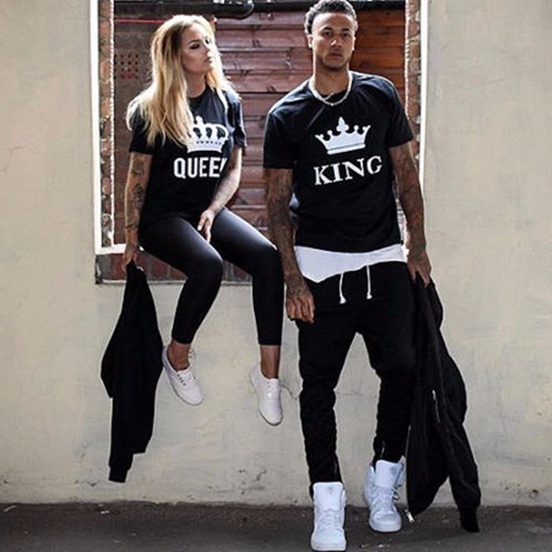 KING QUEEN Letter Printed Couple T-shirts Black
