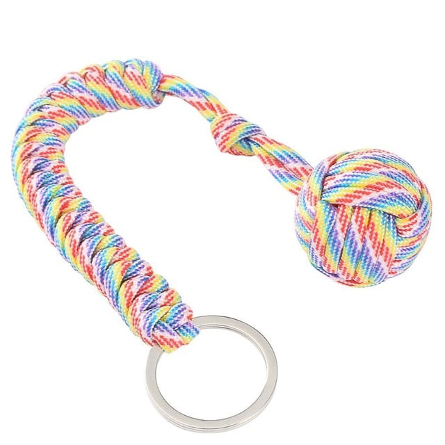 Monkey Fist Self Defense Keychain Camouflage Rainbow