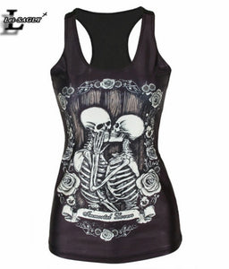Summer Kiss Black Skull Tank Top