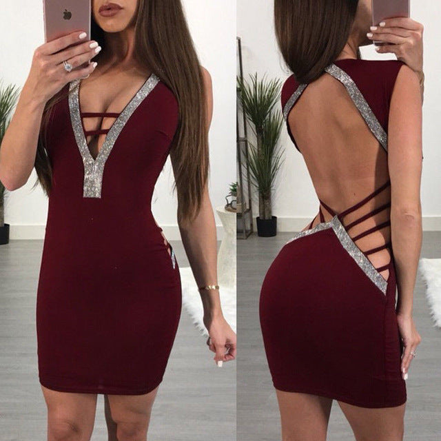 Deep v-neck summer hollow out backless evening mini party dress Burgundy / S