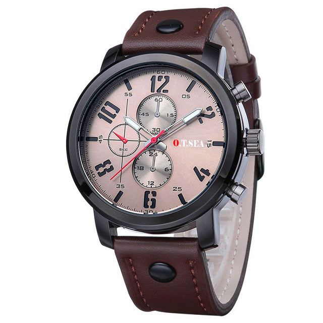 Casual Military Sports Watch Quartz Analog Coffee