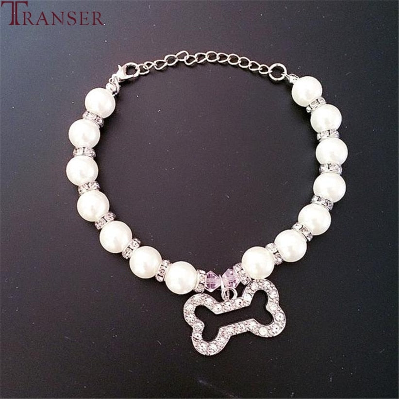 Rhinestone pearls pet collar