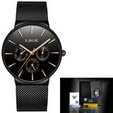 Mens Watches Luxury Slim Mesh Waterproof Sport black gold