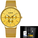 Mens Watches Luxury Slim Mesh Waterproof Sport all yellow