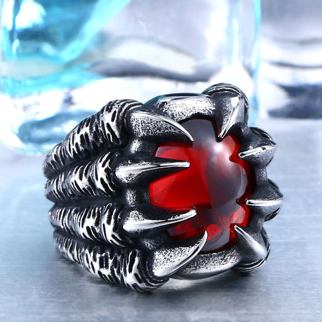 Dragon Claw Steel Ring 7 / red
