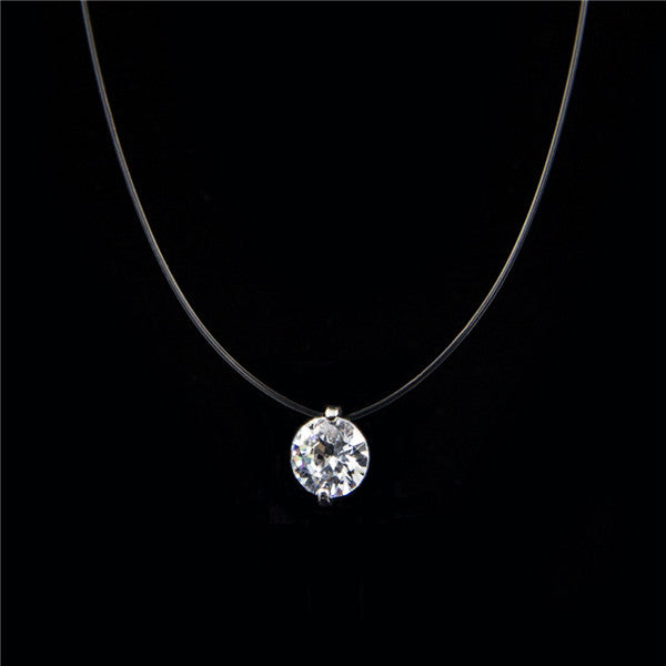 Female Transparent Fishing Line Necklace Silver Invisible 8mm Zircon