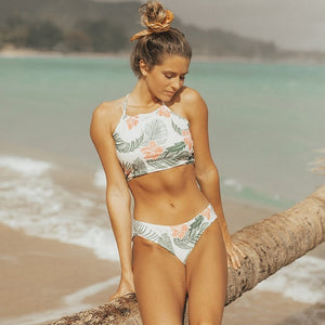 Sexy High Neck Bikini Leaf / S