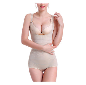 Women's Lace Shapewear Adjustable Seamless Body Slimmer Open Bust High Waisted Bodysuit Corset White / XXL