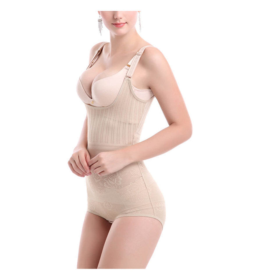 Women's Lace Shapewear Adjustable Seamless Body Slimmer Open Bust High Waisted Bodysuit Corset