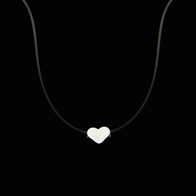 Female Transparent Fishing Line Necklace Silver Invisible Heart