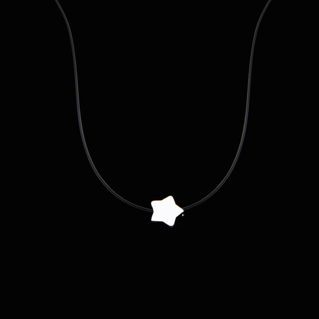 Female Transparent Fishing Line Necklace Silver Invisible Star