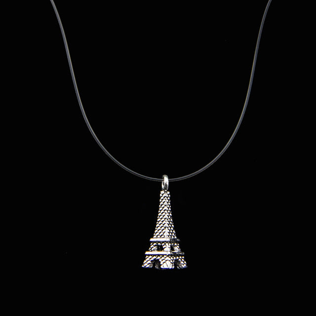 Female Transparent Fishing Line Necklace Silver Invisible Eiffel Tower