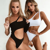 One Piece Solid Swimsuit Sexy High Cut Monokini Hollow Out One Shoulder