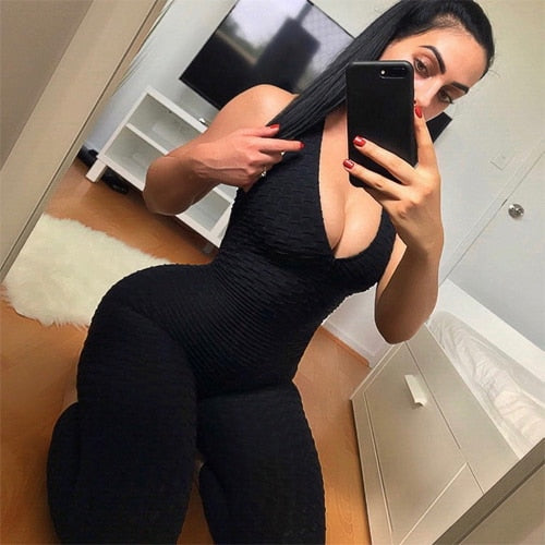 Women's One-piece Bandage Gym Bodysuit Black / L
