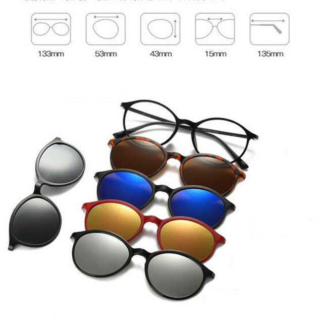 5 in 1 Magnetic Lens Swappable Sunglasses A