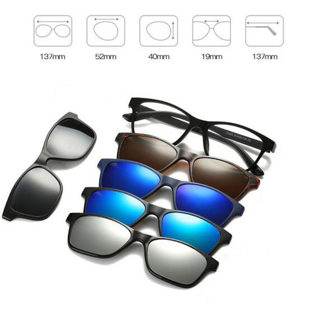 5 in 1 Magnetic Lens Swappable Sunglasses C