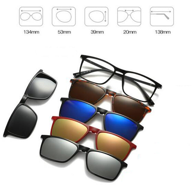 5 in 1 Magnetic Lens Swappable Sunglasses E