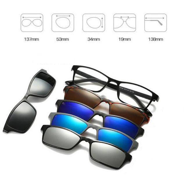 5 in 1 Magnetic Lens Swappable Sunglasses F
