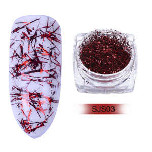 Colorful Platinum Silk Foils Nail Flake Glitter SJS03