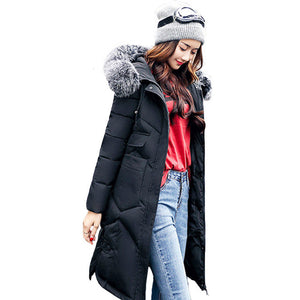 Women hooded coat fur collar thicken warm long jacket Black / L