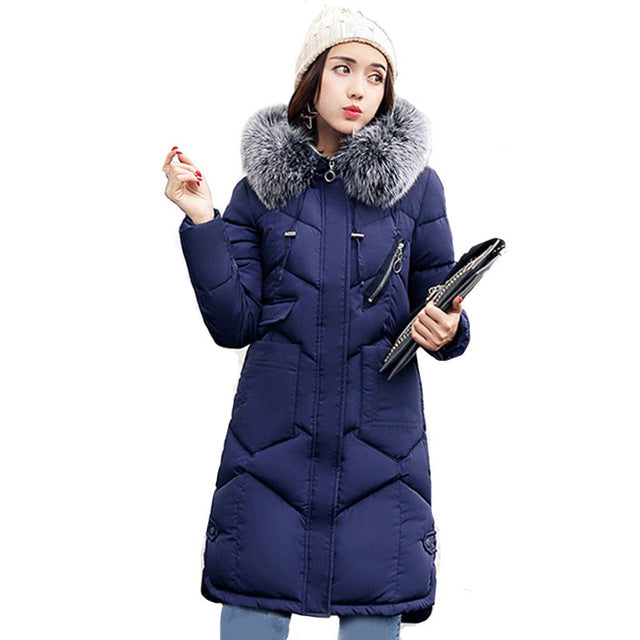 Women hooded coat fur collar thicken warm long jacket Blue / L