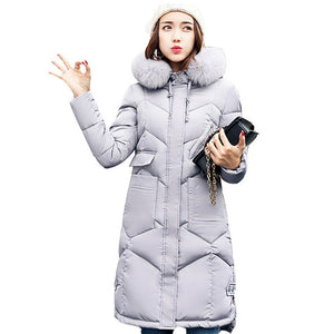 Women hooded coat fur collar thicken warm long jacket Gray / L