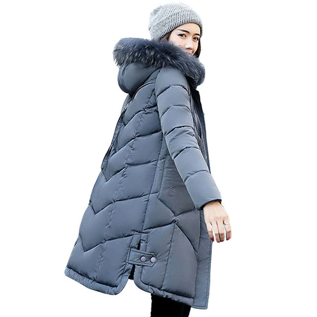 Women hooded coat fur collar thicken warm long jacket