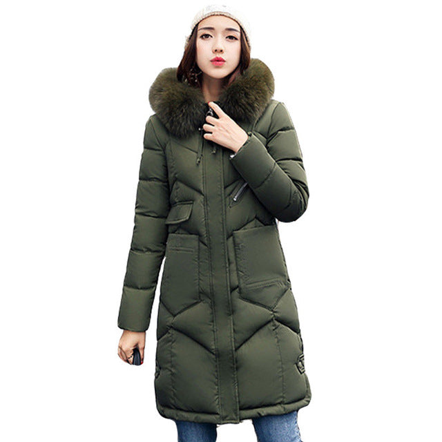 Women hooded coat fur collar thicken warm long jacket Army Green / XXXL