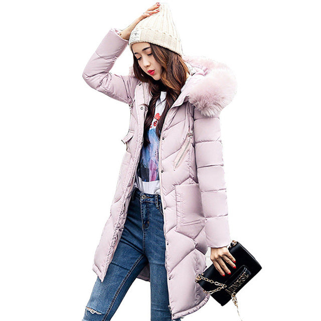 Women hooded coat fur collar thicken warm long jacket Pink / L