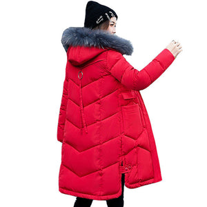Women hooded coat fur collar thicken warm long jacket Red / L