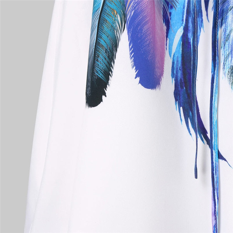 Feather printed bandage dress