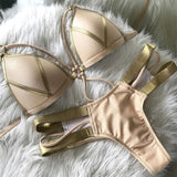 Sexy Bikini Set Pink Women Push Up Swimwear Biquini Khaki / L