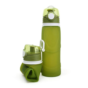 Reusable Silicone Collapsible Bottle 750ml Amy Green