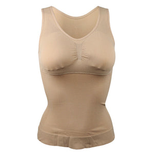 Plus Size Bra Tank Top Body Shaper Slimming Vest Corset with Removable Pads Khaki / L