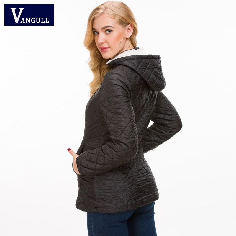 Thick warm winter hooded jacket