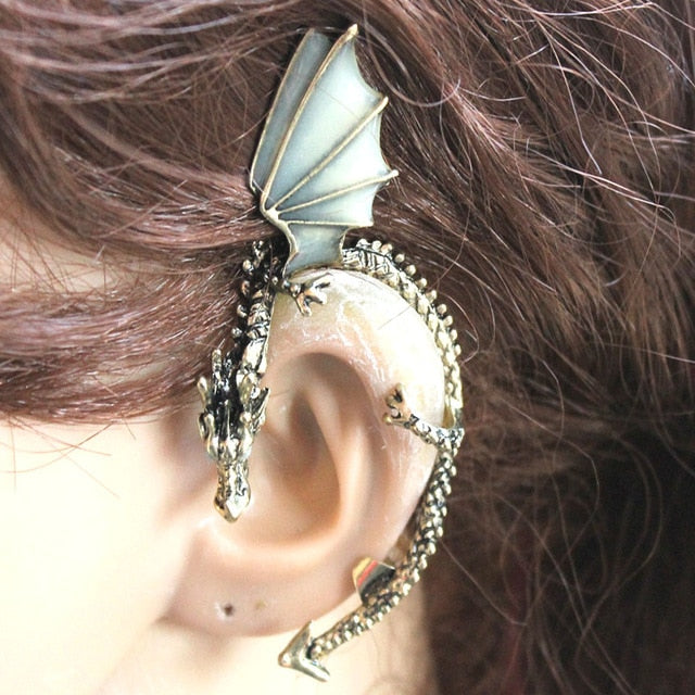GLOW in the DARK dragon Ear clip Antique Bronze Plated