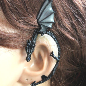 GLOW in the DARK dragon Ear clip YGE04 black plated