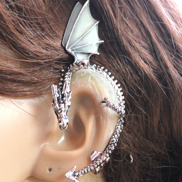 GLOW in the DARK dragon Ear clip Antique Silver Plated