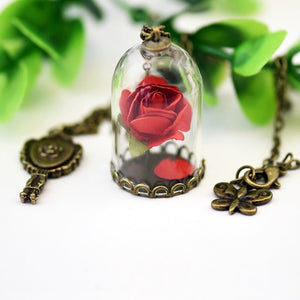 Beauty and the Beast Necklace red
