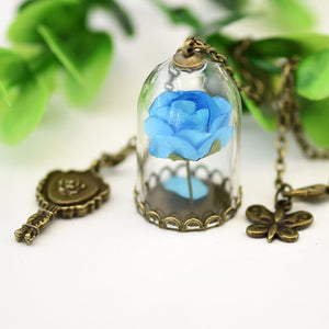 Beauty and the Beast Necklace blue