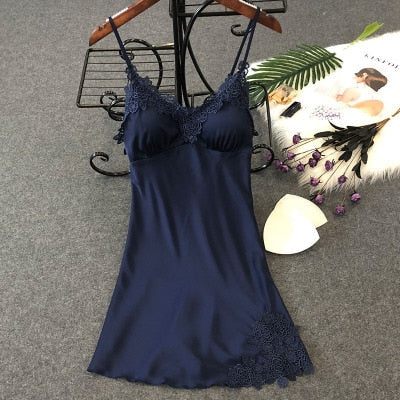Lingerie Silk Nightgown Summer Night Dress navy blue floral / XL