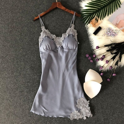 Lingerie Silk Nightgown Summer Night Dress blue gray floral / XL