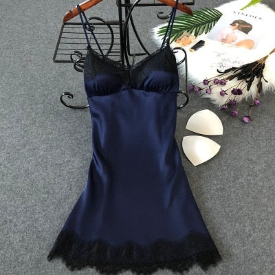 Lingerie Silk Nightgown Summer Night Dress lace navy blue / XL